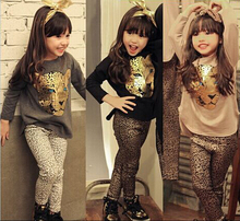 EMS DHL Free Shipping Kids toddler girls Cartoon Character Casual kids Spring Autumn 2pc set Goldren Grey Leopard T Shirt  Pants(China)