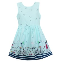 Shybobbi Fashion Girls Dress Blue Heart Bicycle Girl Dresses Party Holiday Princess Children Clothing Size 2-10(China)