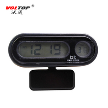 VOLTOP LED Car Electronic Clock Thermometer Dashboard Ornaments 2in1 Auto Practical Light Interior Supplies 2025 Button Battery