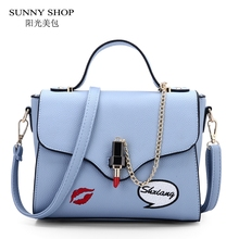 SUNNY SHOP Flat Top Handle Bag Flap Cover Women Crossboday Shoulder Bags With Chains Lipstick Pin Lock Small Cute Messenger Bag