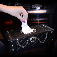 Buy Luxury Crown Leather Car Tissue Box Case Block Type Women Tissue Paper Box Home Auto Styling Great Gift for $28.98 in AliExpress store