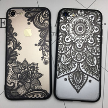 Kerzzil 3D Relief Lace Mandala Rose Henna Skirt Case Cover For iPhone 6 6S Sunflower Back For iPhone 6 7 6S Plus Couque Capa