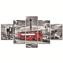 City Bus Wall Pictures For Home Decor Double-decker Bus Canvas Printing Frameless Printed On Canvas 5 Panel Cheap Christmas Gift