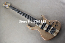 Hot sale factory custom 24 frets 5 strings natural wood color matt electric bass guitar with neck-thru-body,can be customized
