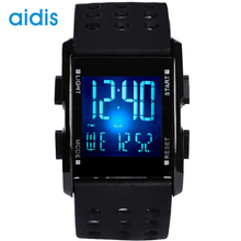 Aidis Fashion LED Sport Watch Men Boys Male Student Outdoor Black Rubber Waterproof Multifunction Electronic Watch
