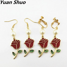 Fashion simple red girls roses wrinkles pearl women's earrings Europe United States trade jewelry wholesale factory direct(China)
