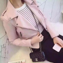 2017 New Spring Fashion Women Motorcycle PU Leather Jackets Female Autumn Short Epaulet Zippers Coat Hot Black pink Outwear