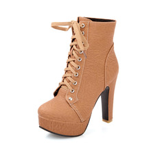 Autumn Winter Women Ankle Boots High Heels Lace Up Leather Double Buckle Platform Short Booties Round Toe Thin Heels Ladies Boot