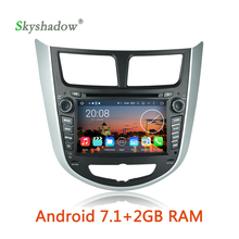 Android 7.1 2G RAM Car DVD multimedia Player Radio GPS map BT WiFi OBD camera For HYUNDAI Verna Accent Solaris 2011 2012 2013(China)