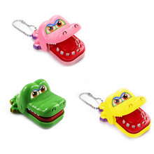 New Toy Crocodile Dentist Bite With Keychain Mouth Gags Practical Jokes M09(China)