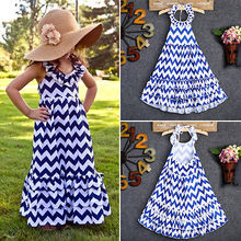 Fashion Kids Girls Blue White Wavy Long Dress Halter Style Summer Sleeveless Striped Maxi Sundress Party Dress 3-10Y