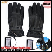 3000MAH Electric Heating Full Palm Touch Screen PU Leather Gloves,Ski Waterproof Lithium Battery Hand Back&5 fingers Self Heated