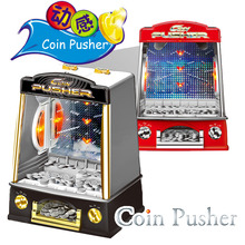 2017 Coin Operated Machine Creative Electric Coin Pusher Machine Funny Children Coin Game Machine Lucky Coin Pushing Machine Toy