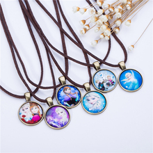 Cute Cartoon character Jewelry Glass Cabochon Brown Leather Chain Necklace Pendants Fashion Collares Women Girl Children Gift(China)