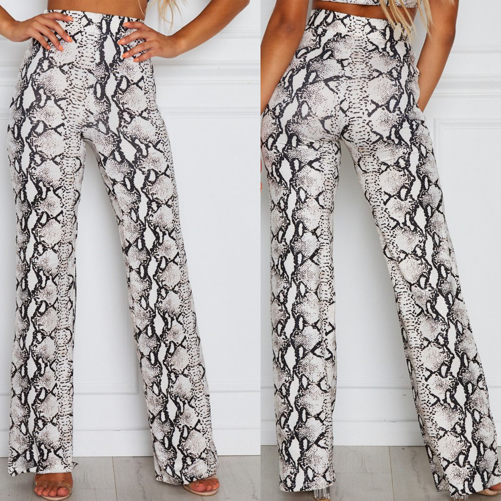 LISTHA Leopard Snaks High Waist Pants Women Animal Print Look Long Trousers