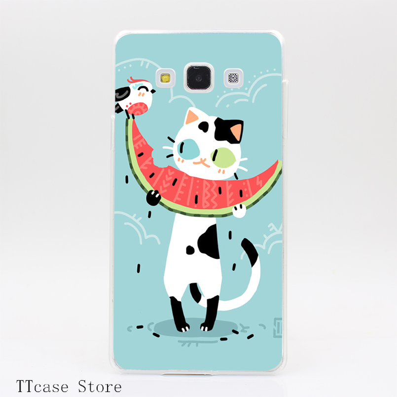 4002CA Watermelon Cat Transparent Hard Cover Case for Galaxy A3 A5 A7 A8 Note 2 3 4 5 J5 J7 Grand 2 & Prime