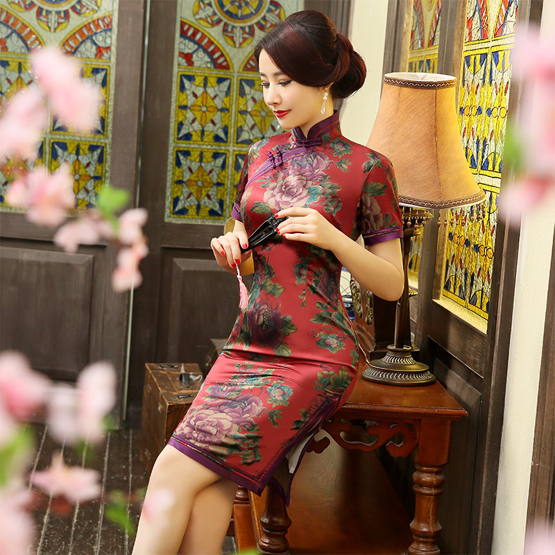 New Silk Cheong-sam Double Deck Vintage Alluring Qipao Sexy Chinese Traditional Women's Satin Mini Dress M L XL XXL 3XL 102801