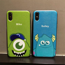 Buy iphone X, 10 Cute cartoon Monsters University Mike Sulley Black Silk print back cover iphone 6 6s 7 8 plus phone cases for $3.38 in AliExpress store