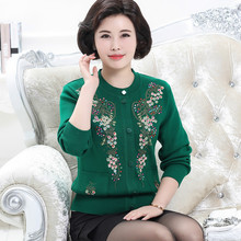 Mother loaded large yards knit cardigan in the elderly women 's long - sleeved sweater middle - aged Spring coat jacket(China)