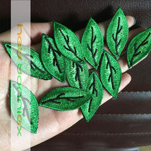Free Shipping 20pcs/lot Applique Embroidery Leaves Patch Iron On Patches for Clothing Bag DIY Patches Adhesive Iron On the Back(China)