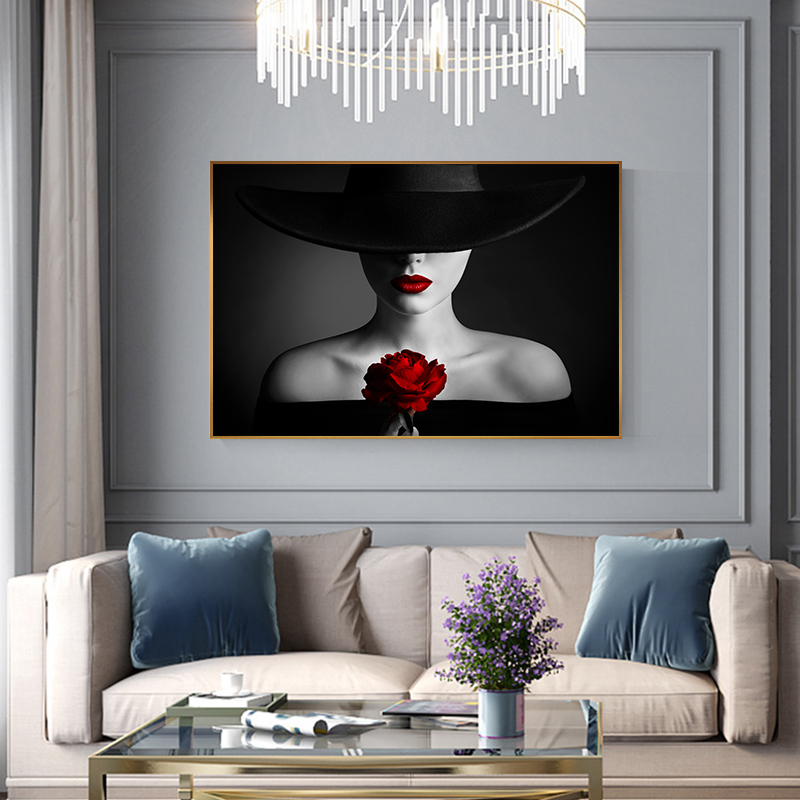 Sexy Red Lips Bleeding Rose Canvas Painting Black Posters Prints Beauty Wall Art