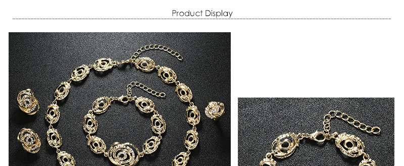 AYAYOO African Beads Jewelry Set Statement Flower Necklace Sets For Women Imitation Crystal Women Wedding Jewelry Set (1)