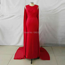 Charming Arabic Red Long Evening Dresses 2016 Robe De Soiree O Neck With Ruched Cape Satin Mermaid Floor Length Evening Dresses