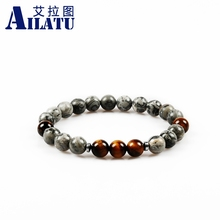 Ailatu Men' Favorite 8mm Tiger Eye Gem&White Howlite&Lava Stone Beads with Common Grey Picture Stone Beads Bracelets(China)