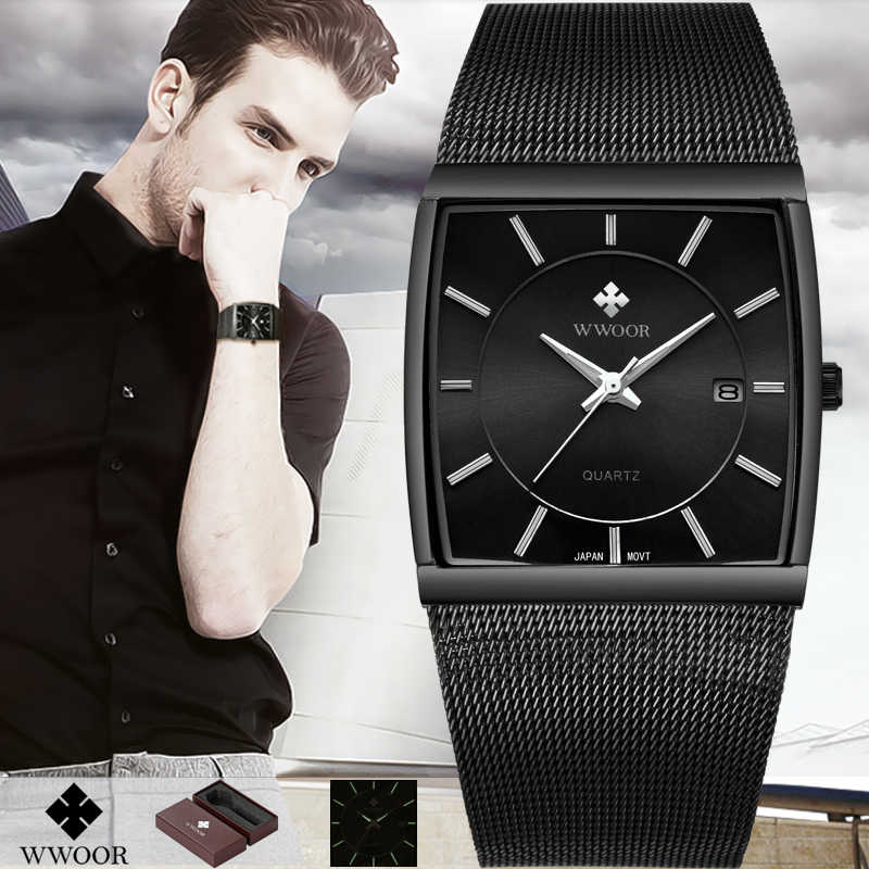 ef05fe54b866 WWOOR лучший бренд класса люкс для мужчин s квадратный повседневные часы  мужской водостойкий Дата часы черный