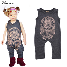 Brand New Fashion Baby Boy Girl Clothes Romper Summer Sleeveless Cotton Romper Cartoon Pattern Bebes 2017 Clothing Set Playsuit