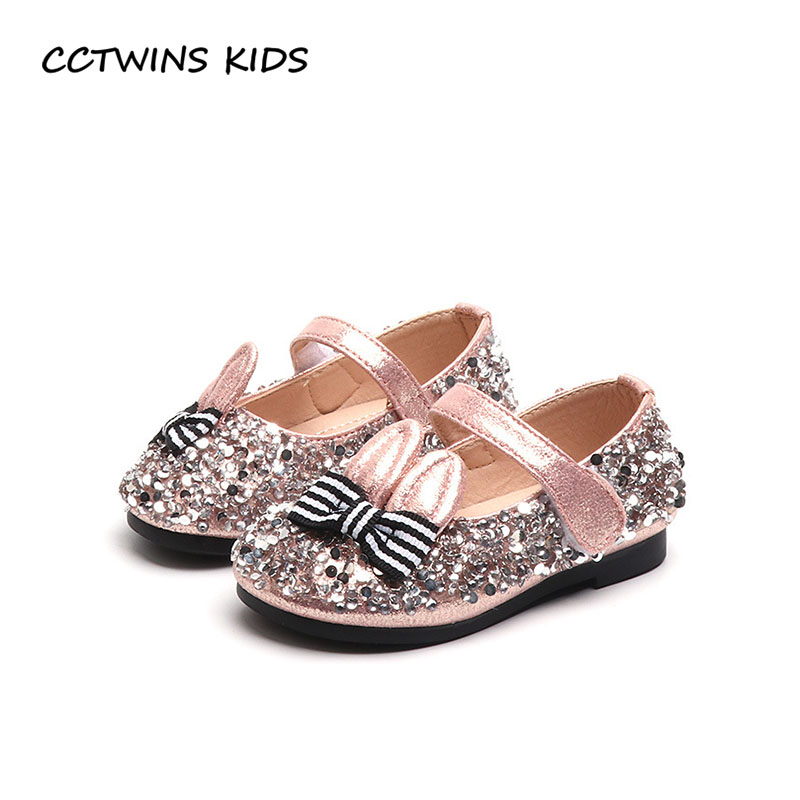 CCTWINS KIDS 2018 Spring Baby Fashion Glitter Party Shoe Children Bow Princess Flat Toddler Brand Bunny Mary Jane Girl G1692 <br>