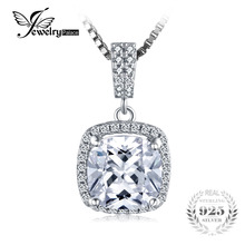 JewelryPalace Cushion 3ct Cubic Zirconia Halo Solitaire 925 Sterling Silver Necklace & Pendant 18Inches Silver Jewelry For Women(China)