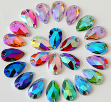 17x28mm 30pcs AB Colors Teardrop Droplet Pear Shape Resin Sew On Rhinestones Flatback Sewing Stones Garments Accessories Y2910