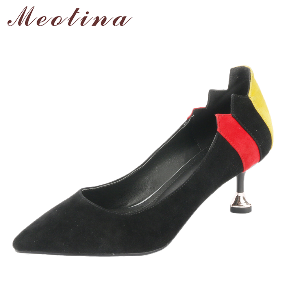 Meotina Genuine Leather Women Pumps High Heels Pointed Toe Kitten Heel Office Lady Shoes Kid Suede Female Pumps Black Size 33-41<br>