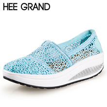 HEE GRAND Breathable Women Shoes Lace Loafers Summer Wedges Lose Weight Creepers Platform Shoes Woman Slip On Flats XWC442