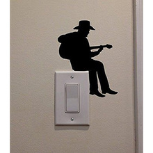 Cowboy Playing Guitar Fashion Vinyl Switch Sticker Room Home Wall Decal 5WS0087(China)