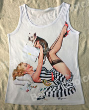Track Ship+Vintage Vest Tanks Tank Tops Camis Miss Lady Red High-heel Playing with French Bulldog Dog 0430(Hong Kong)