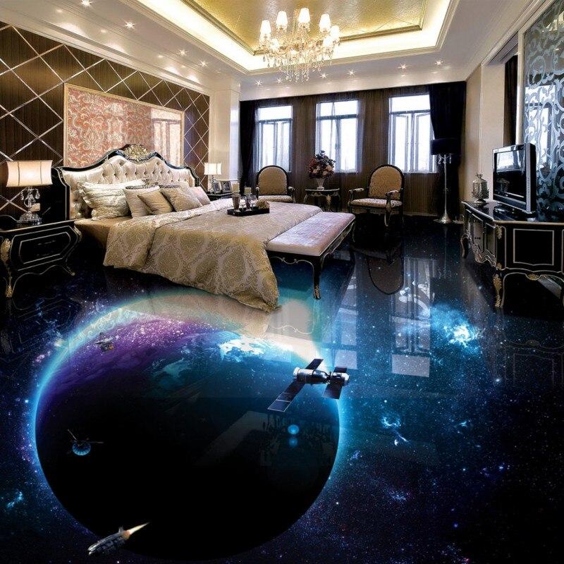 Free shipping custom flooring 3d bathroom living room wallpaper Cosmic waterproof thickened home decoration floor mural<br>