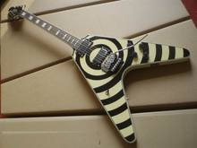 Wholesale New Electric Guitar Custom Zakk Wylde bullseye guitar flying-V model Electric Guitar Cream/black 100209