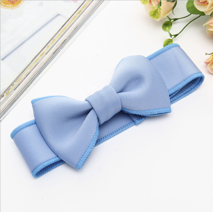 Fashion kids infant child girls head wraps tiara elastic ribbon headband satin big bows headwrap hair bands Accessories For Party (8)