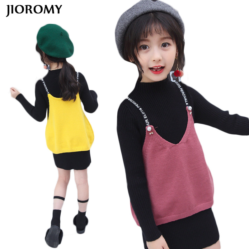 JIOROMY Girls Dress 2017 New Autumn Long Sleeve Sweater Dress + Solid Color Harness Vest 2pcs Kids Clothing Set Dress for Girls<br>