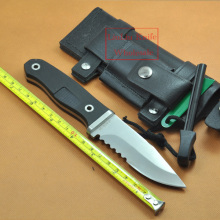 G10 Handle Survival Knife Fixed Blade Knives Hunting Camping Knife Half  Serrated and Leather sheath With Free Ferramentas