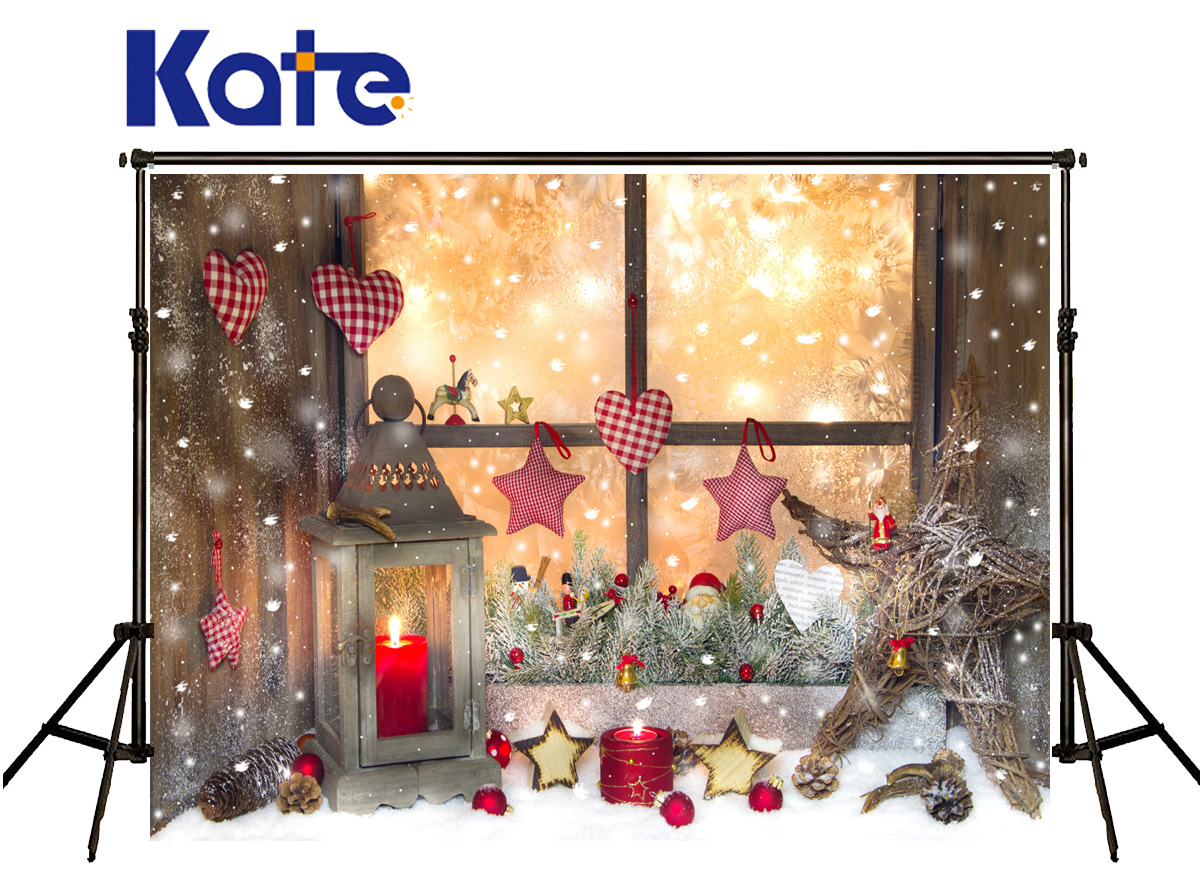 Kate Photography Backdrop Christmas Red Bell Candle  Photocall Backdrops Windows Snow Fall Backgrounds For Photo Shoot<br>