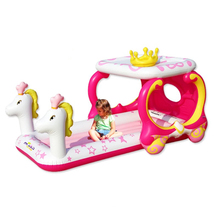 2017 Free Shipping Inflatable princess carriage floating bed with sunshade kids inflatable Castle Toy For Children sleeping bed
