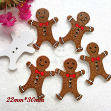 New year decorative material 50pcs Gingerbread Man wood buttons Christmas decorative buttons scrapbook craft diy materials