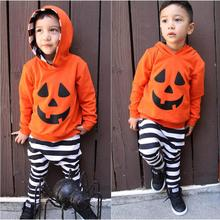 Baby Boy Clothes Beautiful and Fashional Infant Baby Boy Girls Pumpkin Hooded Blouse +Stripe Pants Halloween Outfits Set(China)