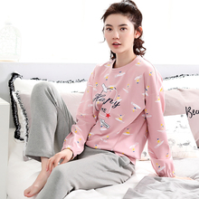 New Autumn And Winter 100%Cotton Womens Pajamas Sets Round Neck Long Sleeve Girl Pyjam Big Yards Women Pajamas Free Shipping(China)