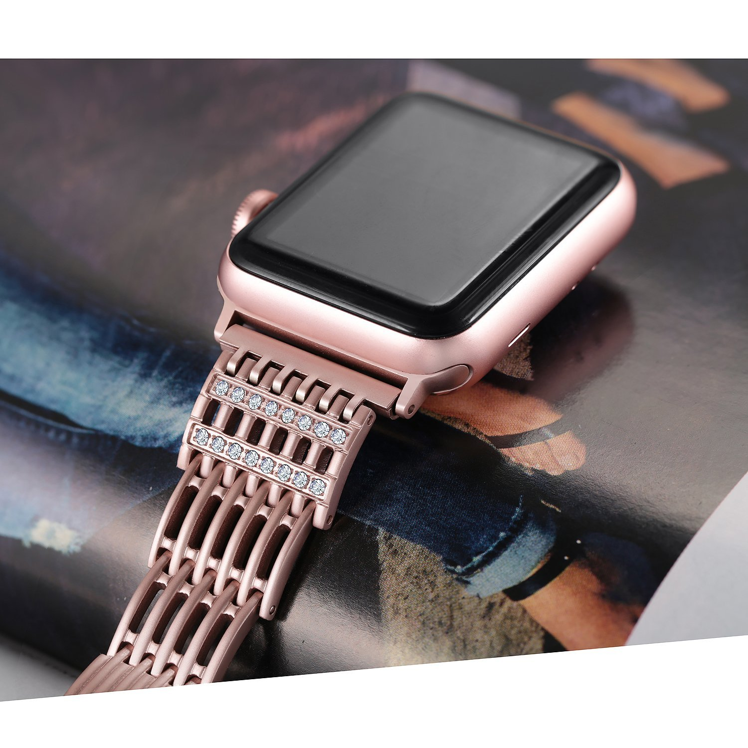Bling Stainless Steel Metal Watch Band For Apple Watch Band 44Mm/ 40Mm/ 42Mm/ 38Mm Strap Series 1 2 3 4