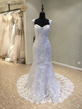 Buy Vestidos de noiva New Mermaid Wedding Dresses 2018 Sweetheart Neck Court Train Appliques Lace Tulle Bridal Gowns mariage for $222.74 in AliExpress store