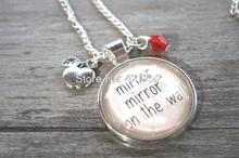 12pcs Snow White quot  Inspired Necklace Evil Queen Villain Mirror Mirror On The Wall Wicked Queen. Silver colored crystal.